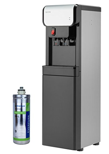 Aquverse A6500-K Hot/Cold Bottleless Water Cooler with Filter and Install Kit, Stainless Black