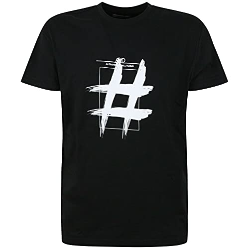 Lixing Alessandro DELL Acqua Black T Shirt with Pound Sign White for Men Men T-Shirt 100% Cotton Sleeve Shirt Black S