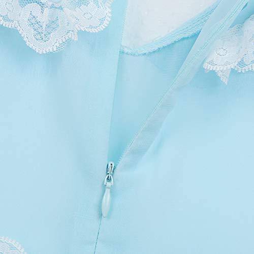 iiniim Men's 2 Piece Set Chiffon Sissy Lingerie Crossdressing Top Skirted Panties Nightwear Light Blue Large