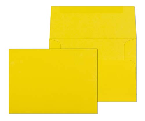 5x7 Envelopes for Invitations, Photos, Graduation, Baby Shower 5 x 7 Cards, Weddings,- Colored Envelope Bright Yellow A7 5 1/4 x 7 1/4 Square Flap Pack of 50