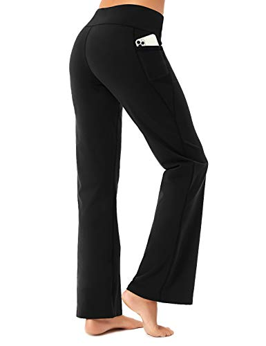 FIRST WAY Buttery Soft Women's Bootcut Yoga Pants Capris with 3 Pockets Lounge Floral Printing Full-Length, Black L