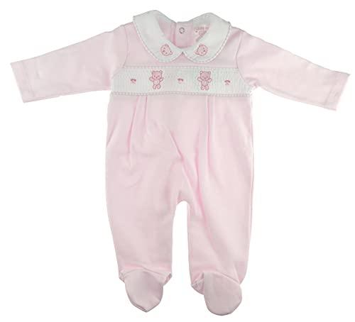 Glamour Girlz Pijama de algodón rosa azul fruncido para niños y niñas, todo en uno Babygro ositos de peluche