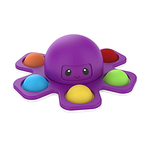 Face-Changing Octopus Push Pop Bubble Fidget Spinner Toy, Simple Sensory Fidget Spinner Toy for Stress Reduction and Anxiety Relief Hand Toy Suitable for Adults and Children (Purple)