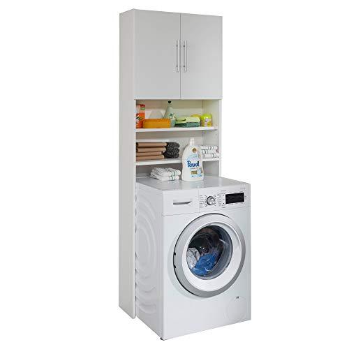 trendteam smart living Badezimmer Waschmaschinenschrank Waschmaschinenüberbau Basix, 64 x 190 x 25 cm Weiß mit viel Stauraum