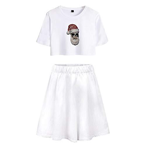 Dames Kerstmis Kerstman Print Kostuum, Vrouwen Kerstmis Vrije tijd afdrukken T-shirt met korte mouwen en Middle-Skirt pak
