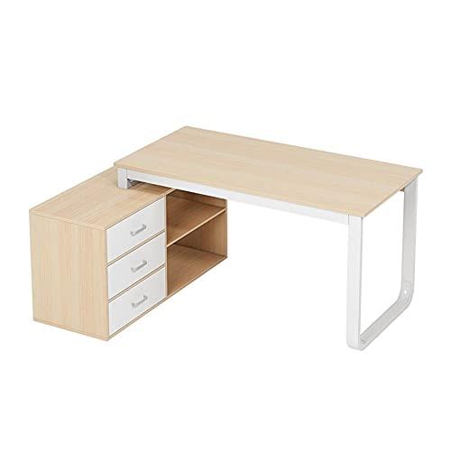 FurnitureR Escritorio de computadora con forma de l con 3 cajones, escritorio de juego escritorio resistente, computadora portátil Tabla de trabajo Estación de trabajo Muebles de oficina en casa Hogar