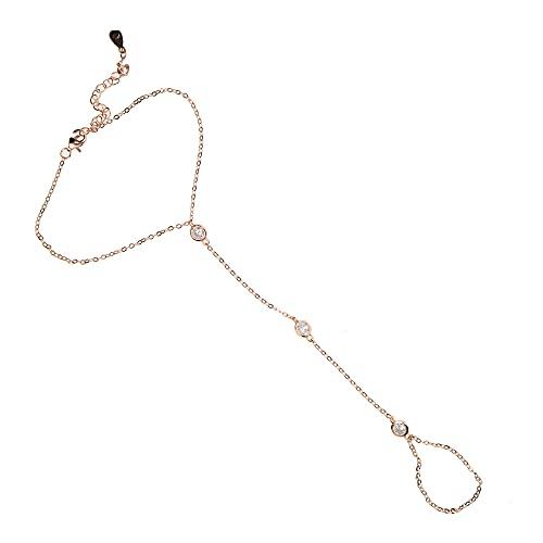 baidicheng Cadena de dedo de plata de ley 925 con circonita, cadena de eslabones para mujer, pulsera con anillo de 2021 (color metal: color oro rosa)