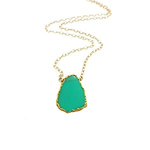 Daintly Chrysoprase Gemstone Slice Necklace Gold Filled Chain