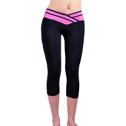Xingxiang Leggins Mujer Push Up 3/4 Leggings de Cintura Alta Pantalones de Yoga Fitness Malla Elásticas Pantalones Deportivos con Color Patchwork