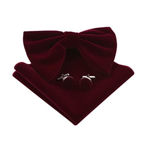 Lovacely Mens Oversized Velvet Bow Tie Vintage Tuxedo Big Bowtie and Pocket Square Cufflinks Set 250167 Burgundy