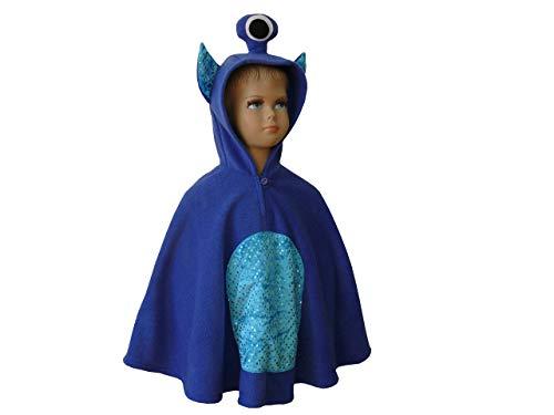 fasching karneval halloween kostüm cape für kleinkinder alien monster blau