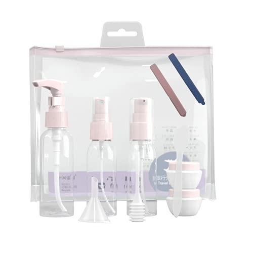 Weiming Silikon Reiseflaschen Set, 11 Stück Reiseflaschen Set, mit Transparent Kulturbeutel, Nachfüllbare Reisebehälter für Shampoo Creme Spülung, Duschgel, Öl-Creme Flugreise Zubehör.