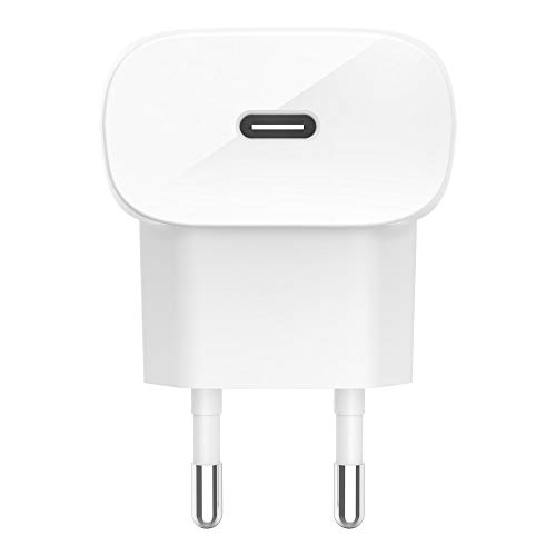 Belkin Cargador de Pared USB-C DD 18 W, Cargador rápido para iPhone12, 12Pro, 12Pro MAX, 12 Mini, 11, 11 Pro/Pro MAX, XS, MAX, XR, X, SE, 8, Plus, iPad Air 2020, iPad de 8ª generación