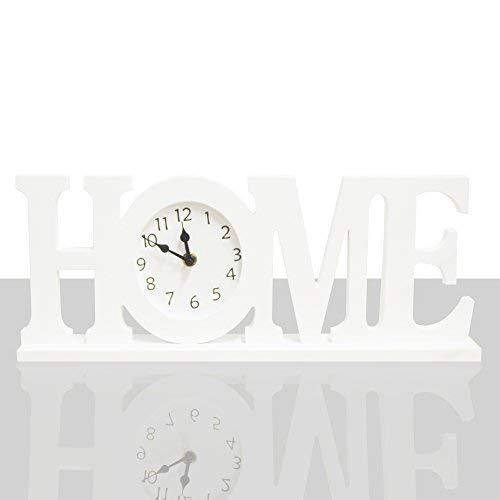 DRULINE Uhr Home Tischuhr zum hinstellen Dekoration Schreibtisch Wohnzimmer Küche Büro aus Holz im Shabby-Chic Stil qualitativ Hochwertig Stabil| L x B x H 42 x 6 x 17 cm | Weiß