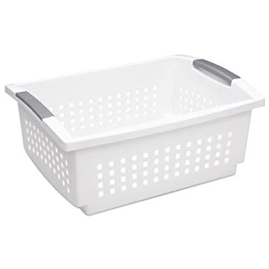 STERILITE 16648006 Large Stacking Basket, White Basket w/Titanium Accents, 6-Pack