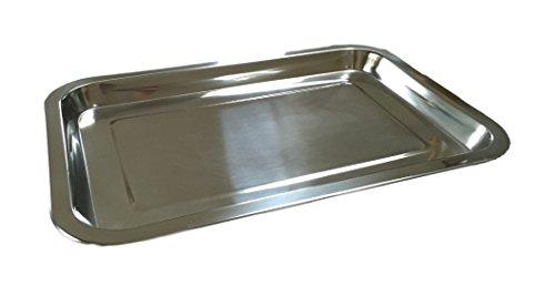 Vassoio in acciaio inox, 32 x 22 cm, per alimenti, torte, carne, formaggio, confezione da 1, 2 o 3 pezzi, Acciaio INOX, 3 pezzi