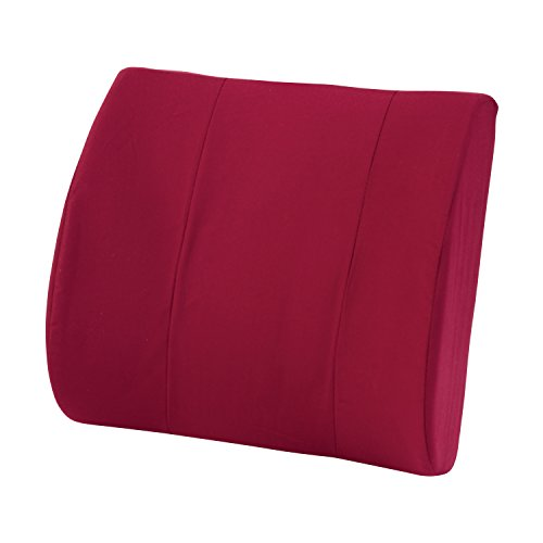 DMI Contour Lumbar Back Support Cushion Pillow for Bucket Seats for Car Seat Back Pain Relief, Burgundy