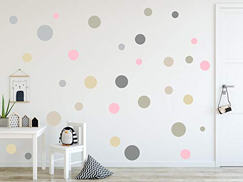 timalo® 73078, 120 adesivi da parete, per cameretta dei bambini, puntini adesivi a forma di cerchio, colori pastello, Set 3., 120 pezzi