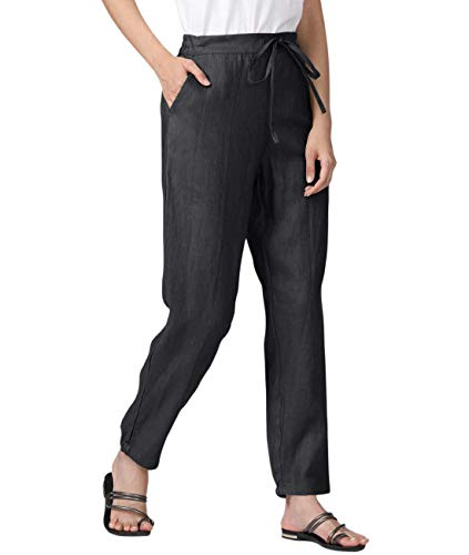 IXIMO Women's Tapered Pants 100% Linen Drawstring Back Elastic Waist Pants Trousers with Pockets Black M