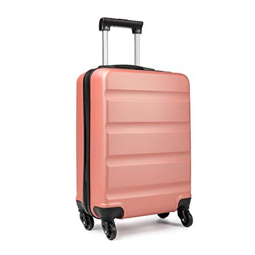 Kono Maletas de Viaje Cabina 55 x 38 x 20 cm 4 Ruedas Rígida Ligera ABS (Rosa Ora)