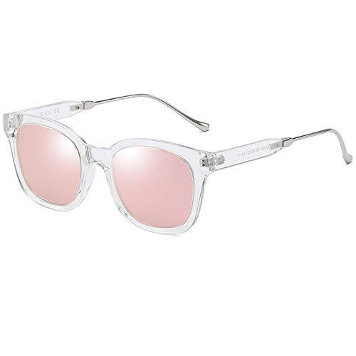 SOJOS Classic Square Polarized Sunglasses Unisex UV400 Mirrored Glasses SJ2050 with Transparent Frame/Pink Mirrored Lens