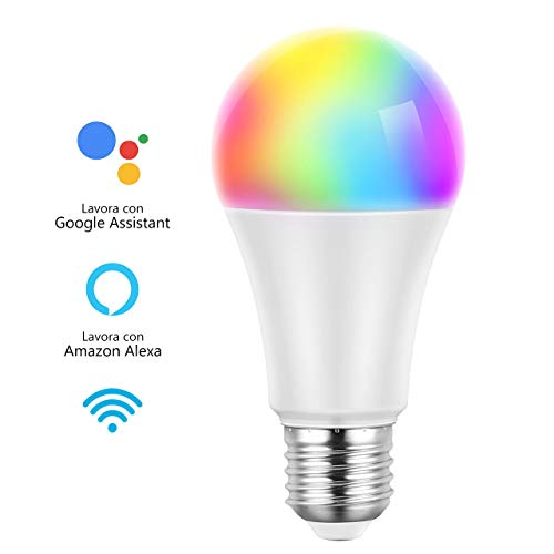 Mpow Lampadina Intelligente, Lampadina WiFi E27, Lampadina Smart WiFi E27 RGB 7W, Telecomando per Telefono, Controllo Vocale da Amazon Alexa&Google Home, Luce Bianca e Colorata, 7W 600lm Dimmerabile