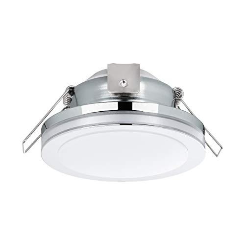 EGLO LED Einbaustrahler Pineda 1, LED Spot aus Stahl und Kunststoff, LED Einbauleuchte in chrom, weiß, Bad-Einbaustrahler IP44, Ø 8,2 cm