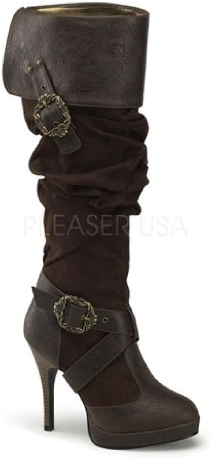 Brown Octopus Buckle Cuffed Knee Women Boots - 10