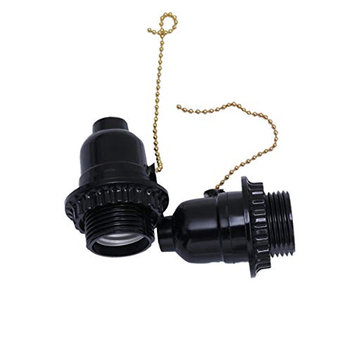 Mobestech Adaptador de toma de corriente de 2 piezas Adaptador de toma de tornillo con soporte de luz con interruptor de cadena de extracción negro