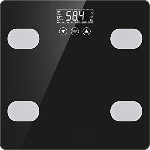 Personenwaage Digitale Waage Körperfettwaage für Knochengewicht BMI Muskelmasse Wasser Kalorien Protein