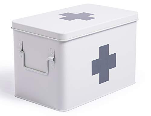 Theo&Cleo Medizin Box Metall, Erste Hilfe Kasten Koffer Schrank, Arzneischrank Medizinkoffer Retro, Medizinschränke Groß XXL, 32 * 19 * 20 cm Weiß