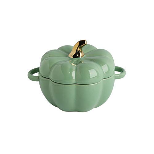Cakunmik Mini Plato para Hornear Lindo tazón de Calabaza, Personalidad Creativa Accesorios de charcuterie de cerámica para Hornear vajilla Postre Fruta Sopa de Sopa,Verde