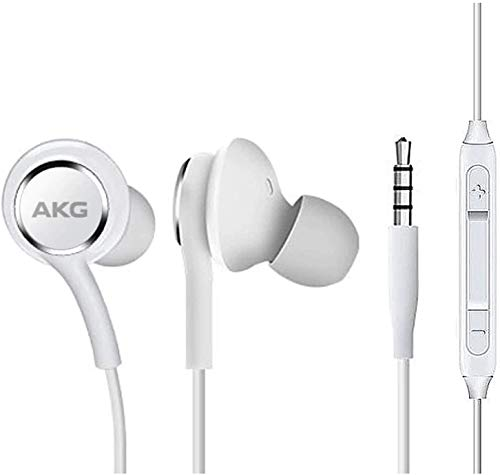 OEM Amazing 2019 Stereo Headphones for Samsung Galaxy S10 S10e S10 Plus Braided Cable - Designed by AKG - with Microphone (White)
