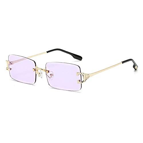 WQZYY&ASDCD Gafas de Sol Gafas De Sol Sin Montura para Mujer, Vintage, para Hombre, para Mujer, para Conducir, Gafas De Sol para Hombre-Light_Purple