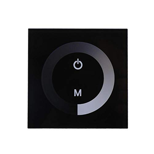DC 12V-24V Wand Touch Panel Controller Helligkeit einstellbar Dimmer für Single Color LED Lichtleiste(Schwarz)