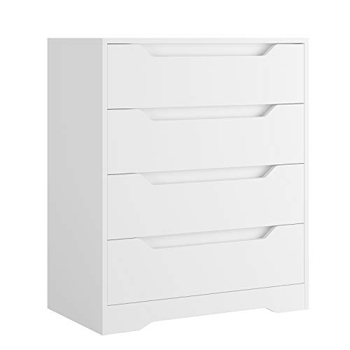 HOMECHO 4 Drawer Chest, Dresser with Drawers, Wood Storage Cabinet with Cutout Handle, Accent Tall Nightstand for Bedroom, Living Room, Entry, White