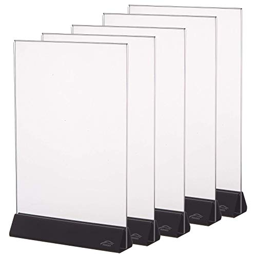 8.5x11 Acrylic Sign Holder, Clear Sign Holder Plastic Paper Holder Slant Back Sign Holders 8 1/2 x 11 inches Sign Holder Plastic Display Stand for Office, Store,5 Pack