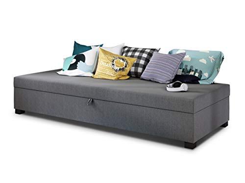 Einzelbett Misti - Sofa mit Bettkasten, Schlafsofa, Bettsofa, Farbauswahl, Bettgestell, Komfortbett, Bett für Jugendzimmer, Schlafmöbel (Grau (Lux 05))