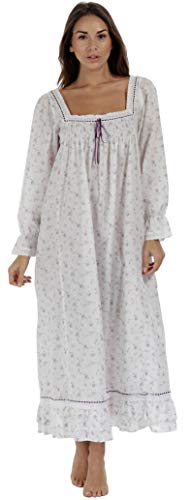 The 1 for U Martha Nightgown 100% Cotton Victorian Style - Sizes XS - 3X … (Large, Lilac Rose)