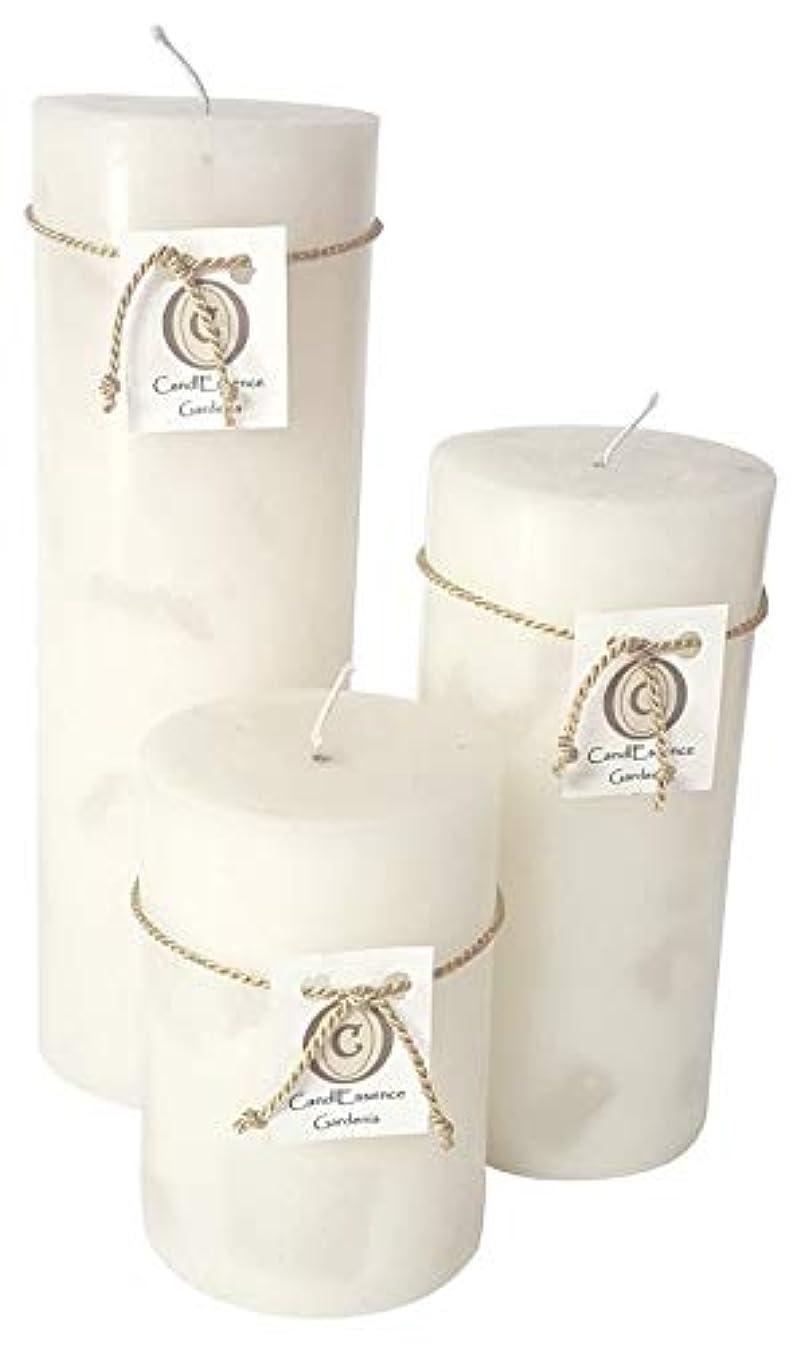 パフバウンスセマフォハンドメイドScented Candle?–?Long Burningピラー?–?Gardenia香り Set of 3 ホワイト GRDNIA