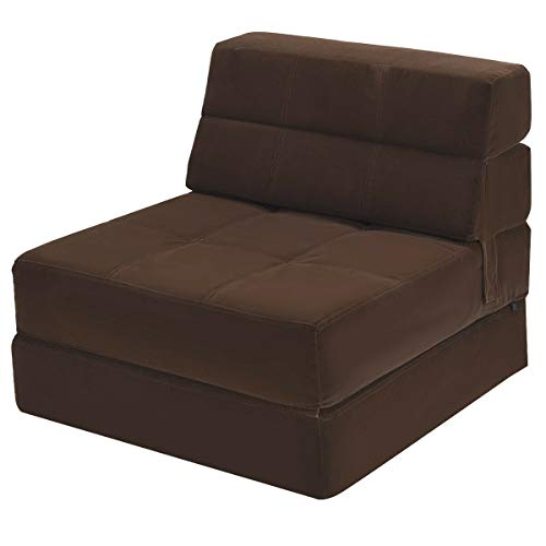 DKA Future 2in1 Tri-Fold Fold Down Sofa Chair Flip Out Lounger Convertible Sleeper Bed Couch Dorm Coffee Color