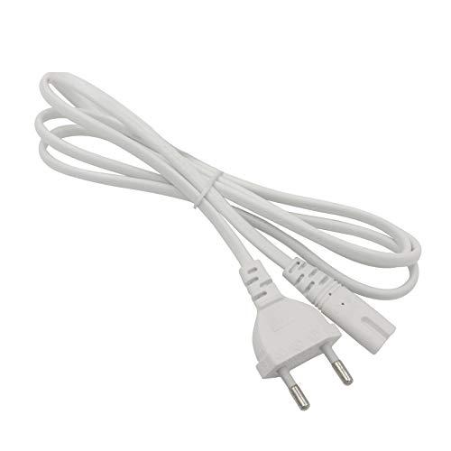 FSKE Câble d'alimentation IEC C7 2M Blanc Euro Fiche vers Figure 8 Cordon d'alimentation pour Samsung Philips LG Sony TV, PC Monitor, PS4, Imprimante
