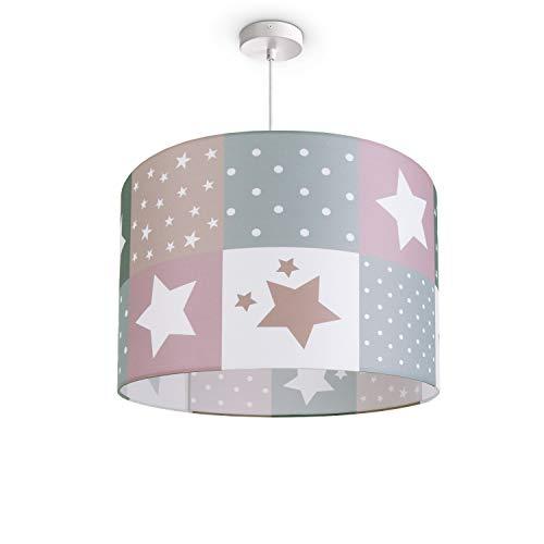 Kinderlampe Deckenlampe LED Pendelleuchte Kinderzimmer Lampe Sternen Motiv E27, Lampenschirm:Pink (Ø45.5 cm), Lampentyp:Pendelleuchte Weiß