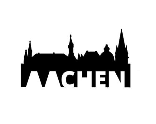 3DREAMS Aachen Skyline Auto Aufkleber Car Sticker Oche Aachen Dom Rathaus grau Made in Germany von Aachener Start Up super als Geschenk oder Souvenir (schwarz 1)