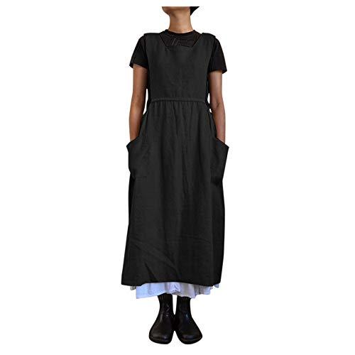 Damen Trägerkleid Sommer Einfarbig Allgleiches Kleid Ärmellos Rechteckiger Ausschnitt Loses Etuikleid Mit Taschen Hohe Taille Patchwork Knöchellanges langes Kleid