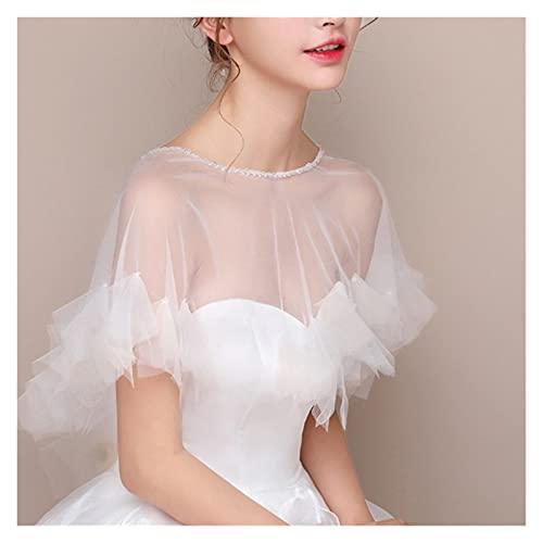 hongruida Capa de tul transparente para mujer, con volantes, capelete de novia Bolero de los años 20S, suéter de cuello redondo, para cubrir el vestido