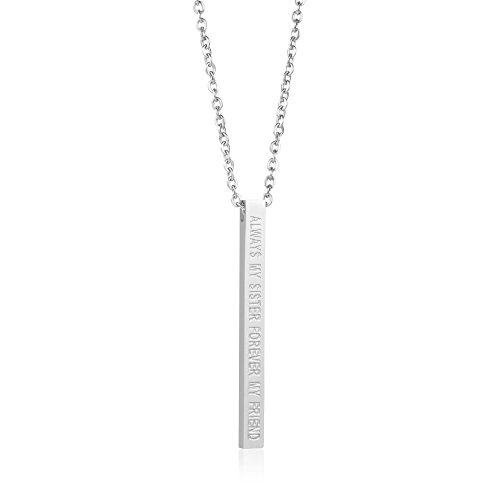 Joycuff Friendship Necklace for Girls Vertical Bar Necklaces Inspirational 316L Stainless Steel Pendant Graduation Christmas Bridesmaid Jewelry Personalized Gift for Women Engraved