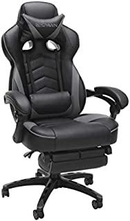 RESPAWN 110 Racing Style Gaming Chair, Reclining Ergonomic Leather Chair with Footrest, in Gray