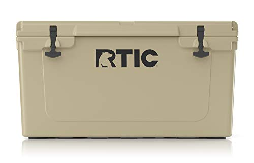 RTIC Hard Cooler, 65 qt, Tan, Ice Chest with Heavy Duty Rubber Latches, 3 Inch Insulated Walls