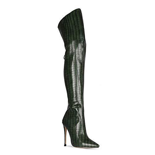 QSMGRBGZ Damen Overknees Stiefel, Herbst/Winter, hohe Elastizität, hohe Absätze, 11,9 cm, sexy Schuhe, Steinmuster, Pole Dance Stiefel, Gummisohle, dunkelgrün, 44EU